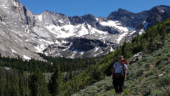 ASU geology major Maigan Dunlap hiking in the Salmon-Challis National Forest in Idaho.
