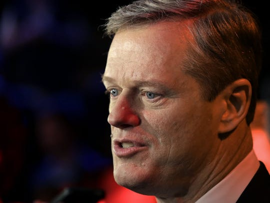 Charlie Baker speak after a televised debate on Oct.
