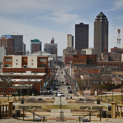 The Des Moines skyline as seen from the steps of...
