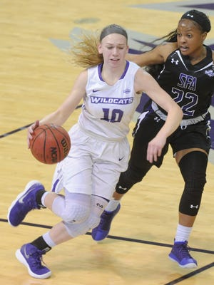 ACU's Breanna Wright, left, races up court as Stephen F. Austin's Taylor Jackson defends during their Southland Conference game Wednesday, Feb. 28, 2018 at Moody Coliseum. SFA won 78-52.