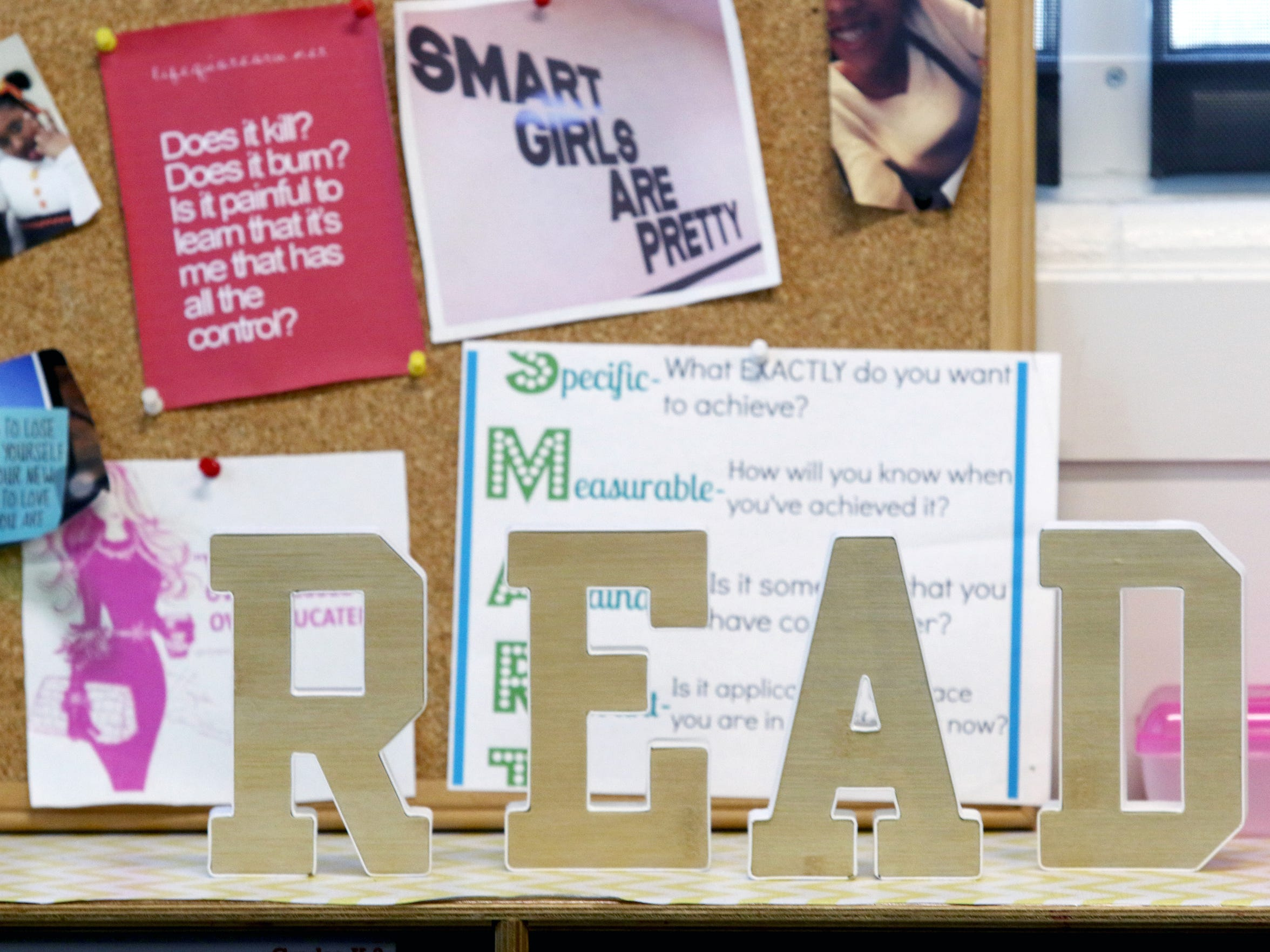 Words of encouragement decorate a classroom at The