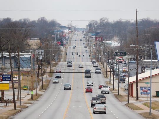 A view overlooking Kearney Street from a pedestrian bridge close to National Avenue in north Springfield, Mo. on Feb. 8, 2017.