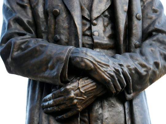 The artist also used casts of Abraham Lincoln's hands