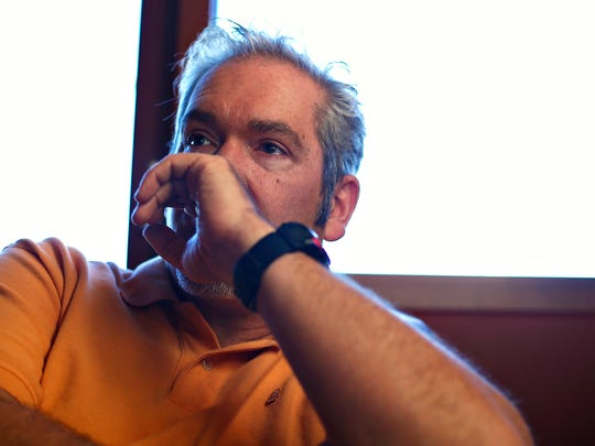 Blake Bays, father of Landon Bays, reacts during a conversation with a News-Leader reporter at Classic Rock Cafe in Springfield, Mo. on March 2, 2017. Landon Bays was killed last year in Springfield and the case is still unsolved.