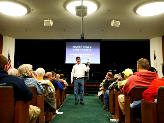 Steve Runnels, National Weather Service Springfield warning coordination meteorologist, addresses attendees to a Storm Spotter class held at the auditorium inside the Assembly of God National Office in Springfield, Mo. on March 7, 2017.