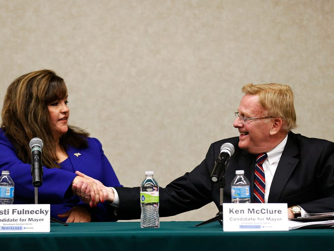 Mayoral candidates Kristi Fulnecky (left) and Ken McClure