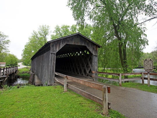 The last historic covered bridge in Wisconsin stands