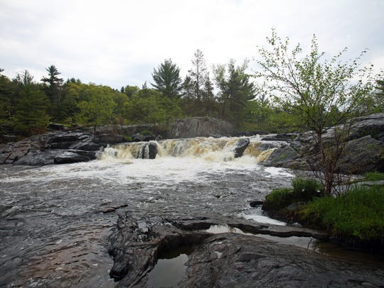 Big Falls tumbles 10 feet over a rock ledge along the
