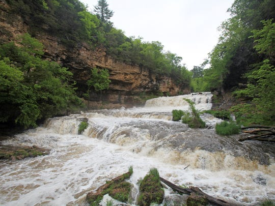 Visitors to Willow River State Park can get an up-close view of Willow Falls from an observation platform and a bridge that crosses the river.