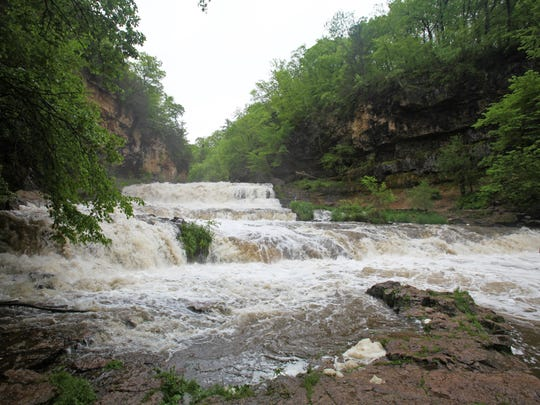Willow Falls is raging in late spring due to recent
