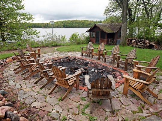 Nightly bonfires are held in this fire pit on the southern part of the island at Stout's Island Lodge.