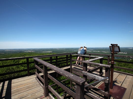 An observation tower in Rib Mountain State Park provides views of the park and the surrounding Wausau area.