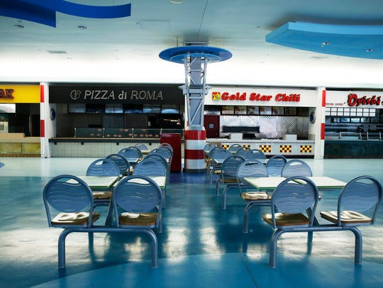 The abandoned food court at Forest Fair Village, the
