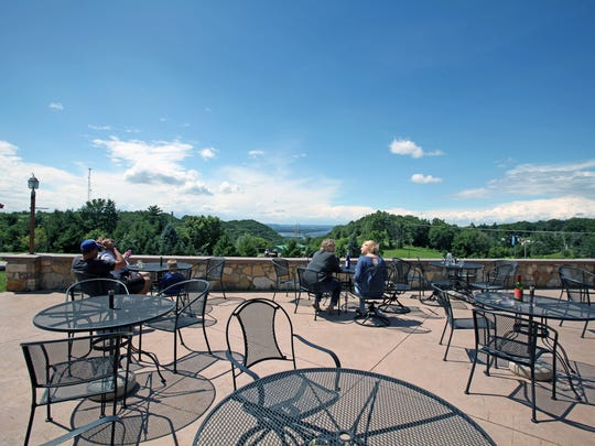 The patio at Danzinger Vineyards in Alma provides views