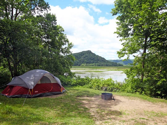 Campsite 44 at Perrot State Park has a view of Trempealeau Bay and Trempealau Mountain along the Mississippi River.
