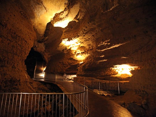 Paved walkways lead through Cave of the Mounds, a National