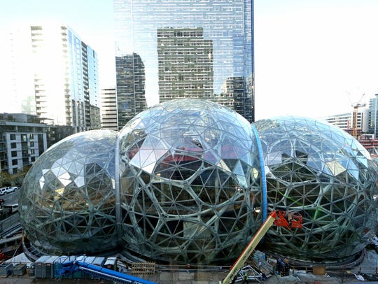 The Amazon Spheres, in downtown Seattle, are seen from