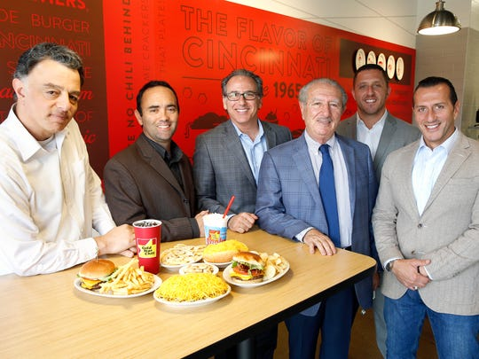 "Members of the Gold Star Chili family; Basim Daoud, left, B.J. David, Roger David, Fahid ""Frank"" Daoud, Samir Daoud, and Sami Daoud at the Gold Star location at Xavier Station. Fahid Daoud founded Gold Star Chili in 1965 with his brothers after immigrating to Cincinnati from Jordan."