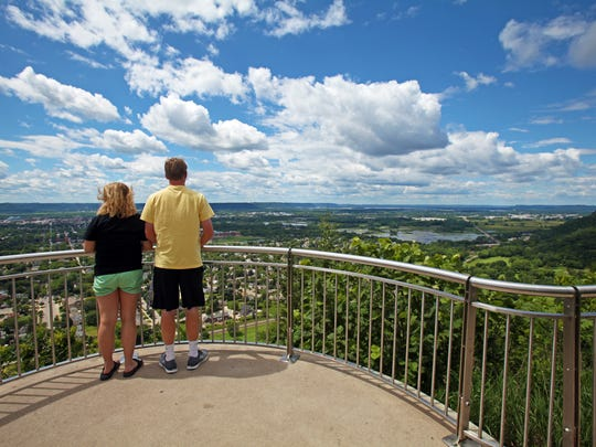 A scenic overlook on Grandad Bluff provides views of La Crosse and the Mississippi River.