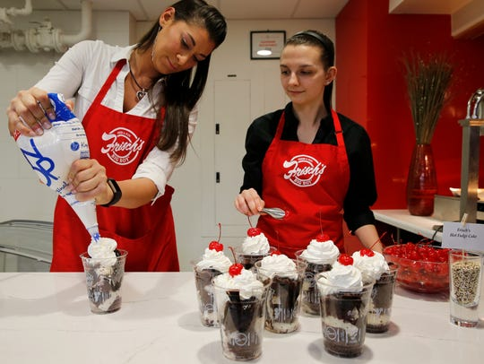 Amber Elsawy, left, and Eva Crowe of Frisch's makes