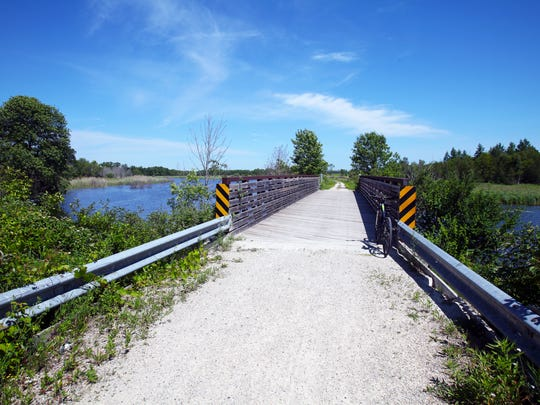 The Ahnapee State Trail crosses over the Ahnapee River