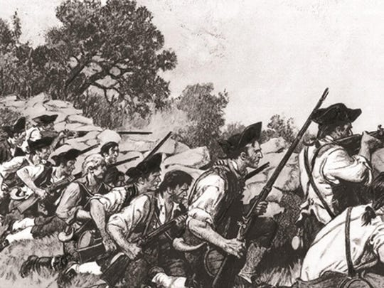 A 20th-century depiction of Col. Ebenezer Francis' troops defending Monument Hill early in the battle at Hubbardton by Roy H. Heinrich. (1938)