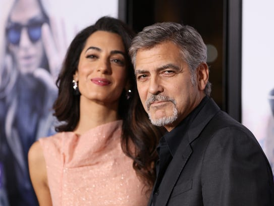 Amal Alamuddin Clooney and George Clooney in Hollywood