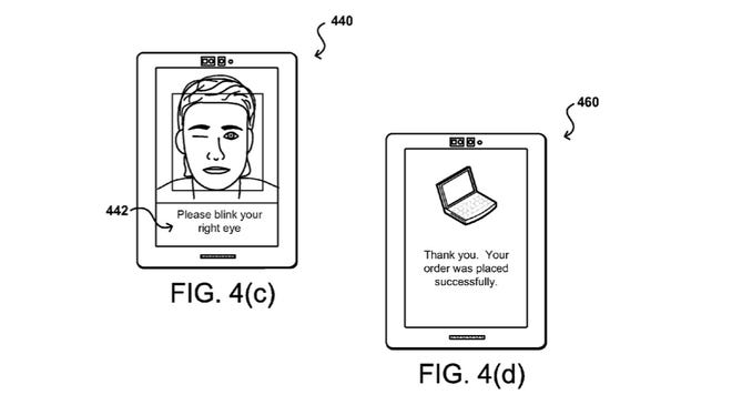 Amazon on March 10, 2016 filed a patent to allow users to authenticate a transaction by taking a selfie and then performing an act such as blinking to show a real person was present.