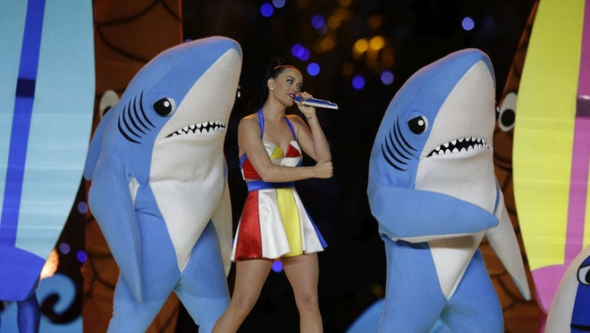 Katy Perry performs during halftime of NFL Super Bowl XLIX football game between the Seattle Seahawks and the New England Patriots Sunday, Feb. 1, 2015, in Glendale, Ariz.