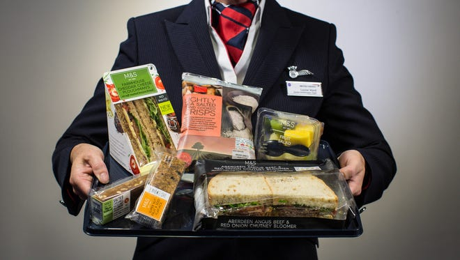 This image provided by British Airways shows what its new a la carte meal options might look like for its short-haul flights.