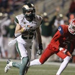 CSU receiver Joe Hansley runs away from Fresno State defender Joe Ellis while scoring his third touchdown Saturday night in the Rams' 34-31 win at Fresno State. Hansley scored two other touchdowns on punt returns and Monday was named the Mountain West Special Teams Player of the Week.