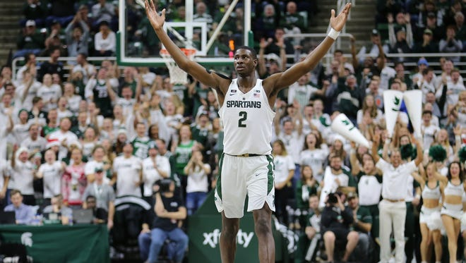 Michigan State's Jaren Jackson Jr. celebrates a made basketball during the win over Southern Utah on Dec. 9, 2017, at Breslin Center.