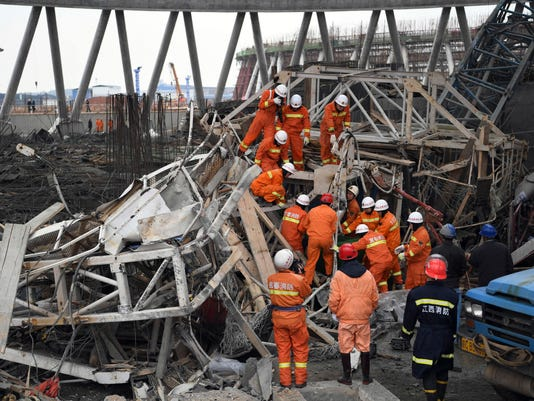 AP CHINA TOWER COLLAPSE I CHN