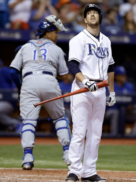 Tampa Bay Rays' Steven Souza Jr. reacts after striking out off Kansas City Royals pitcher Danny Duffy during the seventh inning of a baseball game Monday, Aug. 1, 2016, in St. Petersburg, Fla. Leaving the field is catcher Salvador Perez. (AP Photo/Chris O'Meara)