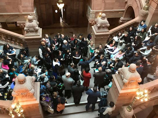 Yonkers officials held a rally at the state Capitol