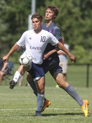 Cedar Rapids Xavier junior Will Hanigan plays the ball