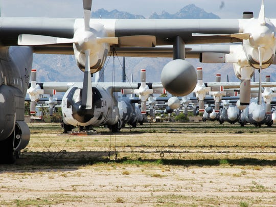 "A sea of aircraft are tethered outdoors at the ""Boneyard"""