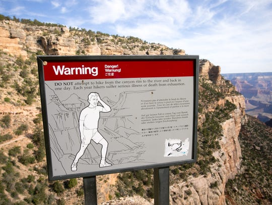 A sign warning hikers on Bright Angel Trail on the