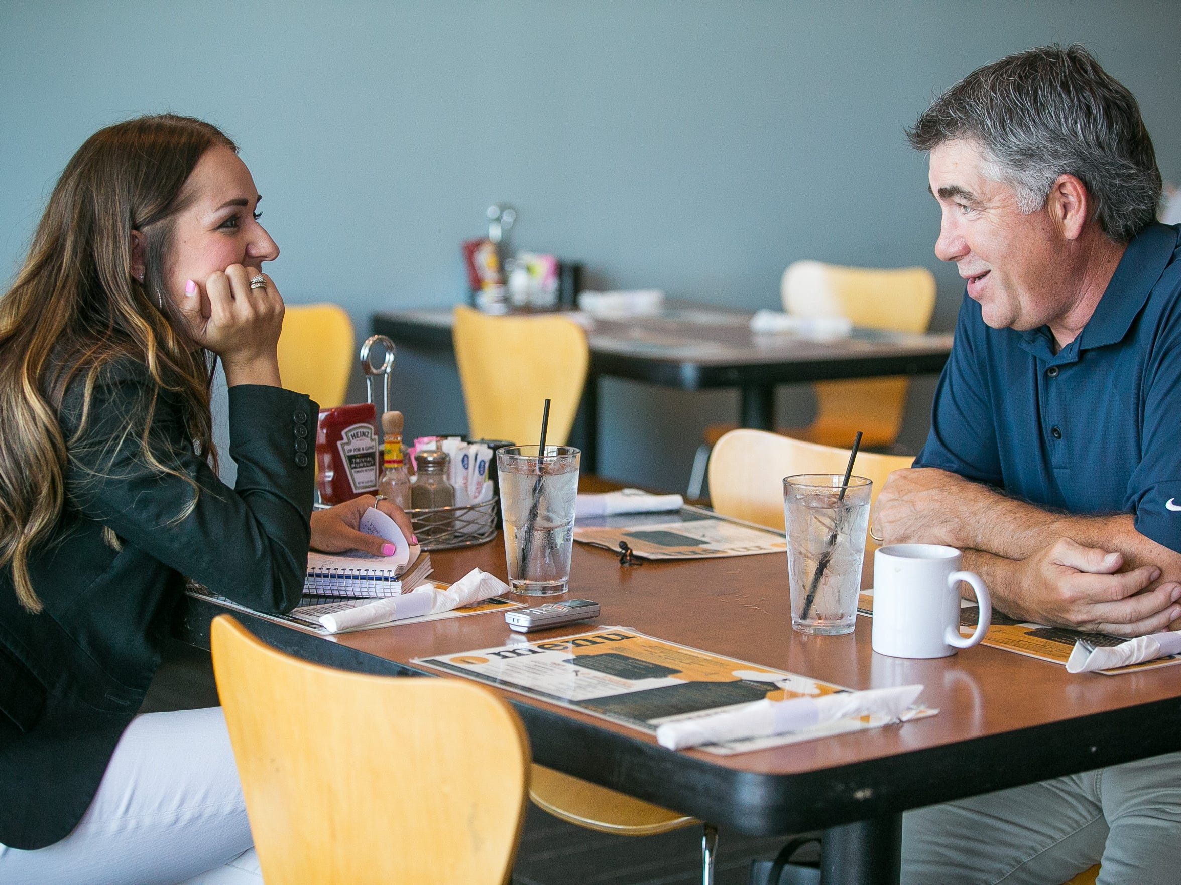 Arizona Coyotes head coach Dave Tippett talks with azcentral sports reporter Sarah McLellan in Scottsdale on Wednesday, Aug. 26, 2015.