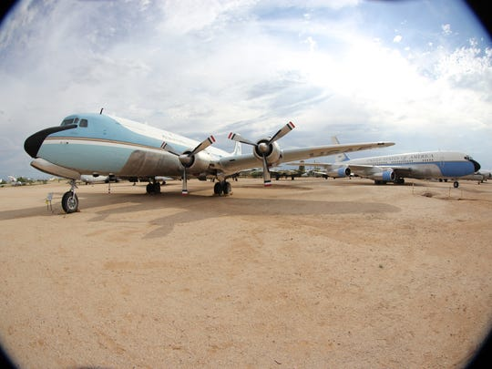 A pair of Air Force One jets are on display at the