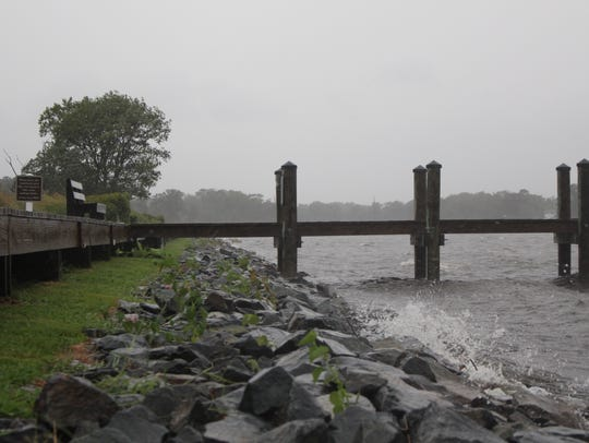 Rain and wind pounds Dirickson Creek in Selbyville,