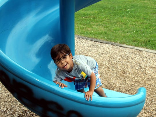 Three-year old Victor Padilla thought the slide was