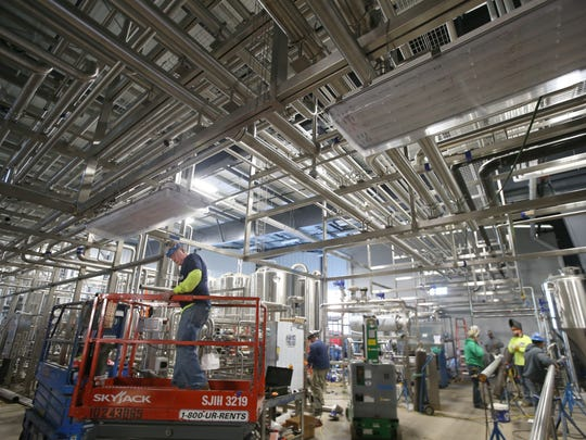 Construction inside the new cold block at Genesee Brewery on St. Paul Street in Rochester Tuesday, Nov. 21, 2017.  The Rochester brewery is almost done with the first phase of its $49.1 million modernization project.