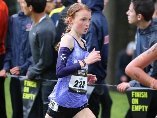 Northern Highlands senior star Monica Hebner running