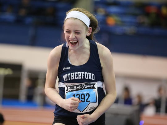 Jenna Rogers, of Rutherford, celebrating her day at the AT&T Coaches Hall of Fame Invitational at The Armory Track Center in New York on Dec. 16, 2017. Rogers set a Bergen County record in the high jump. Less than three weeks later, Rogers was invited to participate in the women's high jump competition at the Millrose Games on Feb. 3, 2018 at The Armory.