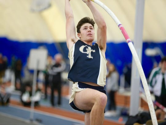 Tyler Hrbek of NV/Old Tappan en route to winning the pole vault at 15 feet