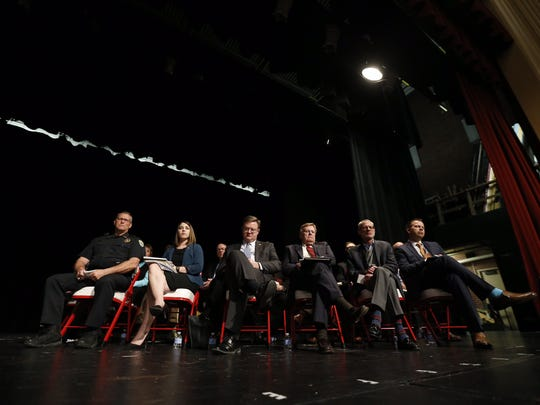 Speakers at the Central High School forum on gun violence.