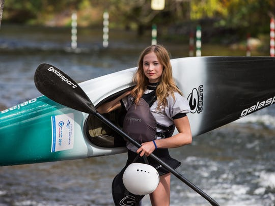 Evy Leibfarth at 14 has just won the women's Whitewater U.S. Open and is training for U.S. Team Trials in whitewater slalom April 7 in Charlotte.