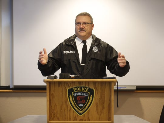 Springfield Police Chief Paul Williams speaks at a press conference last year. On Monday, Williams asked the Springfield City Council to allow his officers to buy back their guns when they retire.