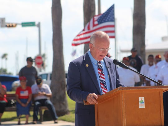 Keynote speaker Mike Pusley speaks during the Memorial Day ceremony on Monday, May 28, 2018.